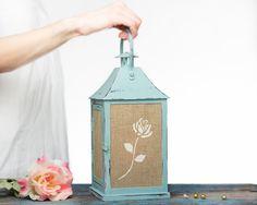 Holiday Gifts Turquoise Wedding Candle Lantern Centerpiece, Shabby Chic Outdoor Lantern, Bohemian Decor/ Christmas Decorations SET OF 4