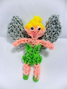 Handmade Tinkerbell Figure using the Rainbow Loom, can be used as a keychain, backpack zipper pull, toy etc  Tags : Peter Pan fairy faery pixie