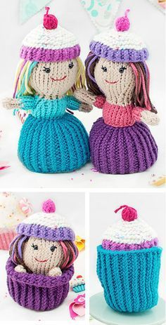 Knitting Pattern for Cupcake Dolls