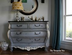 The Turquoise Iris ~ Vintage Modern Hand Painted Furniture: French Country Bombay Chest in Gray and Linen Upscale Furniture, Furniture Ads, Grey Furniture, Selling Furniture, Hand Painted Furniture, French Furniture, Paint Furniture, Upcycled Furniture, Furniture Makeover