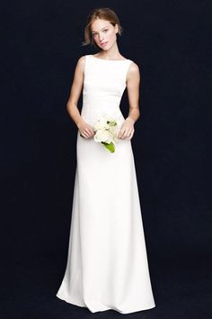 Under-$1K Wedding Dresses That Don't Look Cheap  #refinery29  http://www.refinery29.com/affordable-wedding-dresses#slide-11  The high boatneck is very Audrey.