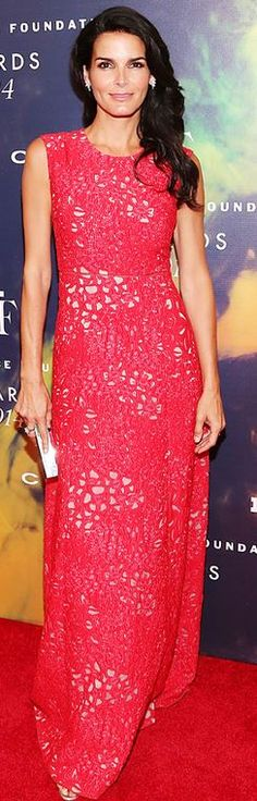 angie harmon  Who made  Angie Harmons pink lace gown and shoes?