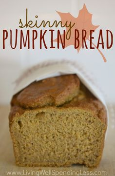 Want all the fall flavor with none of the guilt?  Oh my goodness, this delicious skinny pumpkin bread is so moist & amazing--you'll never believe it is only 125 calories per slice!
