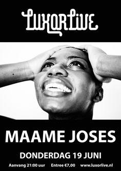 Maame Joses (bekend van TVOH3) presenteert met haar band haar debuut album 'Grown man Cry' in Luxor Live, Arnhem op donderdag 19 juni. Hierbij de uitnodiging om mee te gaan naar Maame's wereld van soul, pop, blues, gospel en folk! Ze heeft gespeeld met Frank Boeijen in Nederland en België. In 2010 werd ze halve finalist in de Grote Prijs van Nederland competitie. In 2012 verwierf ze dezelfde positie in 'The Voice of Holland'. #pop #soul