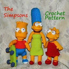 {Crochet patterns}    Meeting - Bartman with skateboard, his witty and independent sister Lisa and their mom Marge.  These patterns contain a