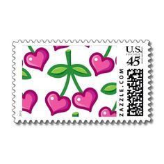Cute heart shaped pink cherries stamp by thecuteinstitute