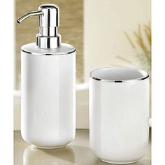Luxury Porcelain Bath Accessories   White With Silver Accents