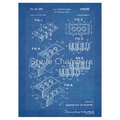 LEGO Construction Toy Blocks US Patent Art blueprint