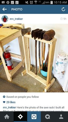 ax and sledge hammer rack idea Mehr