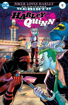 """Harley Quinn """"JOKER LOVES HARLEY"""" part two! Don't ship Joker and Harley too hard! In this issue, the """"reformed"""" Joker deceives Harley, and when that happens, she goes for his throat! Injustice 2, Dc Comic Books, Comic Book Covers, Comic Art, Superman, Batman Batman, Joker Y Harley Quinn, Joker Joker, Hq Dc"""