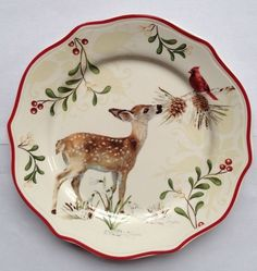 better homes gardens christmas heritage collection deer salad plate