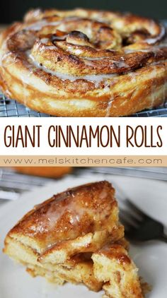 The only thing better than a cinnamon roll is a GIANT cinnamon roll. Check out this post for a delicious giant cinnamon roll recipe with step-by-step photos. Giant Cinnamon Roll Recipe, Biscuit Cinnamon Rolls, Yummy Drinks, Delicious Desserts, Yummy Food, Fall Desserts, Breakfast Dishes, Breakfast Recipes, Breakfast Ideas