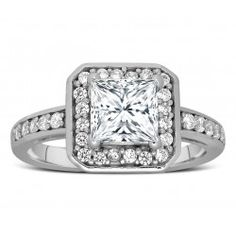 Perfect 1 Carat Princess Shape Halo Engagement Ring in Sterling Silver