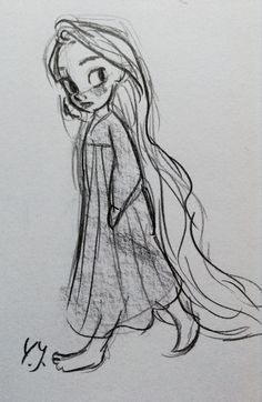 Sketch of young rapunzel from Tangled. By Yenthe Joline.