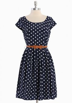 Clermont Belted Polka Dot Dress from Ruche. This belongs in my closet...right next to my other blue dress with white polka dots.