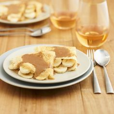 This recipe shows how easy it is to make gluten-free crepes. These are terrific to serve at dinner parties. Easy Desserts, Dessert Recipes, French Crepes, Dinner Parties, Sorbet, Food To Make, Tart, Caramel, Pancakes