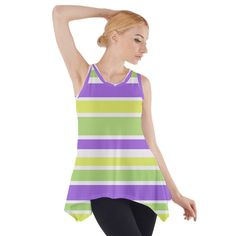 Fashion Tunic Top Purple Yellow Stripes #cowcow #fashion #style #trends