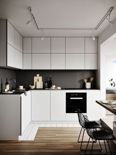 Best 7 Awesome Minimalist Kitchen Sets That Make the Kitchen More Beautiful Maybe there is no other room that is most important for housewives compared to favorite kitchens. It doesn't hurt if you pay more attention to kitchen. Kitchen Room Design, Kitchen Sets, Interior Design Kitchen, Kitchen Decor, Kitchen Living, Minimal Kitchen Design, Living Room, Kitchen Wood, Kitchen Flooring