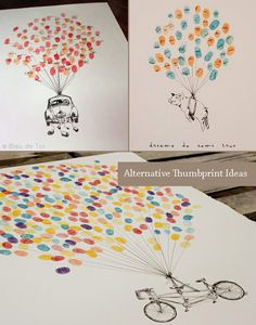 Balloon Theme Thumbprint Guestbook (I'd want Tara to draw this with dogs holding the balloon strings and we'll frame it in the kids room)