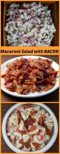 Macaroni Salad with Tomato and Bacon I made this and it is very good. I would make the bacon optional to save a few calories. Bacon Recipes, Pasta Recipes, Salad Recipes, Dinner Recipes, Cooking Recipes, Macaroni Recipes, Quiche Recipes, Pasta Dishes, Food Dishes