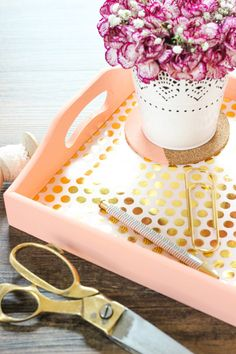 Bright Gold Foil Tray using Chalky Finish Paint and Decou-Page Paper