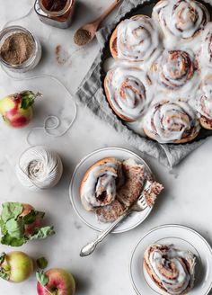 Simple, doughy apple butter cinnamon rolls with a lightly-sweetened, slightly tart filling, and topped with brown butter frosting. Brown Butter Frosting, Tart Filling, Apple Pie Spice, Apple Cider Donuts, Thing 1, Apple Butter, Dry Yeast, Cinnamon Rolls, Baking Recipes