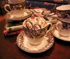 Re-using a tea cup to make a pin cushion. Perhaps a long loved teacup that has seen better days.