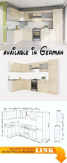 B076J1R512  ELDORADO-MÖBEL KÜCHE ALINA 320 WEIßLACK KÜCHENZEILE - küchenblock 260 cm