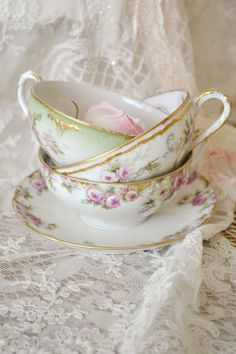 Antique Tea Cups with Pink Roses, I cannot get enough of them.  Just look at these shell thin wonders from Bavaria or France. ~MWP - Jennelise: Summer Roses