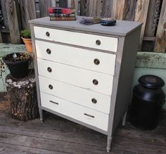 Vintage Chest of Drawers, French Country Dresser, Painted Furniture.