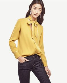 Primary Image of Petite Piped Tie Neck Blouse $70