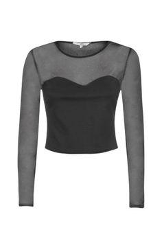 New Look Mobile | Black Stud Mesh Insert Long Sleeve Crop Top