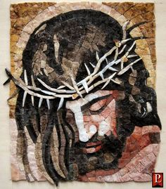 Artwork of Jesus Christ Our Savior Mosaic Artwork, Mosaic Wall Art, Mosaic Crafts, Mosaic Projects, Religious Icons, Religious Art, Jesus Drawings, Mosaic Portrait, Pictures Of Jesus Christ