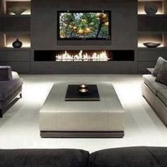 Modern units in living room modern 40 Contemporary Living Room Ideas — RenoGuide - Australian Renovation Ideas and Inspiration Living Room Tv, Living Room With Fireplace, Living Room Interior, Tv Wall Ideas Living Room, Tv Wall Decor, Fireplace Tv Wall, Fireplace Design, Modern Fireplace, Modern Electric Fireplace
