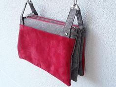 Triple pochette ChaChaCha velours rouge cousue par Véronique - Patron Sacôtin