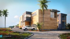 house near the beach_ kuan studio House Near Beach, 3d Visualization, Exterior, Mansions, Studio, Architecture, House Styles, Outdoor Decor, Image