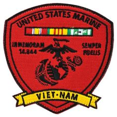 Vietnam USMC Service Patch. Created by Medals of America to honor those who served in the United States Marine Corps during the Vietnam War. Thank you Vietnam Veterans!
