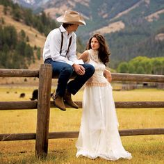 Country style wedding dress and cute country groom