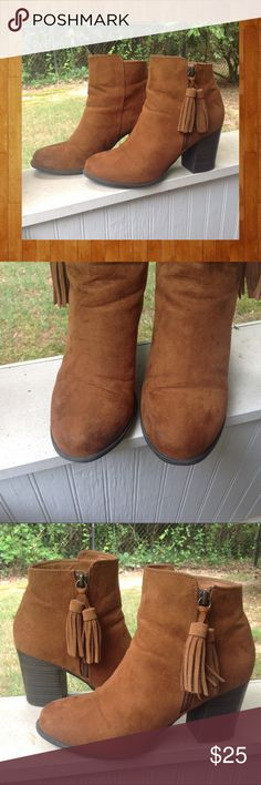"""Esprit Suede Boots with Tassels Detail on zippers Esprit Suede Boots with Tassels on the Zippers / Boots zip on the outside of ankle / Heels are 3 and 1/2 """" tall / Boots have been lovingly worn - please see pictures / Size 9M Esprit Shoes Heeled Boots"""