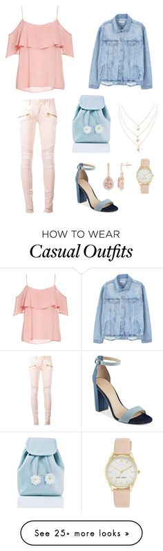 """""""SPRING CASUAL STATEMENT"""" by kmahy5 on Polyvore featuring BB Dakota, Balmain, MANGO, GUESS, Sugarbaby and Nine West"""