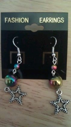Rainbow Hematite Star Earrings