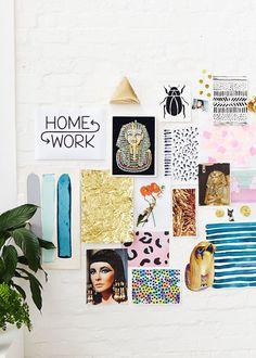The Design Files - Homework Decoration Inspiration, Decoration Design, Inspiration Boards, Interior Inspiration, Room Decor, Wall Decor, Wall Art, Concept Board, Marble Print