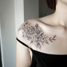 Elegant blackwork floral shoulder piece by Chaehwa