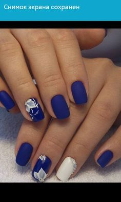 Blue Nail Art Ideas for 2018 – Top 150 Designs Gorgeous Nails, Pretty Nails, Royal Blue Nails Designs, Blue And Silver Nails, Punk Nails, Queen Nails, Bridal Nails, Nail Manicure, Simple Nails