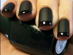 DIY Black Matte & Gloss Tip Nails!  See how to create this look (click image)