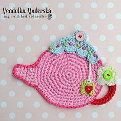 Teapot coaster crochet pattern DIY van VendulkaM op Etsy