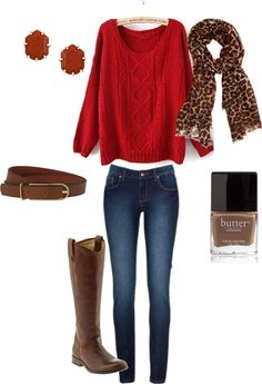 Red Knit Sweater + Leopard Scarf + Skinny Jeans + Brown Belt + Brown Riding Boots