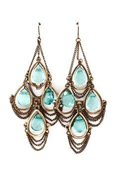 Aquamarine Chandelier Earrings on Emma Stine Limited