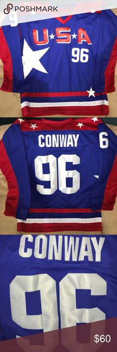 Mighty Duck D2 Charlie Conway USA Jersey Men's L Stitched Team USA Charlie Conway Jersey Men's Large #96 with fight strap. Worn 1 time. Other