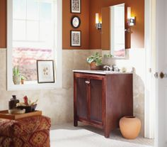 Clean lines and color rich. Get ready to relax in this pretty bathroom reminiscent of a desert sunset. Clean, simple and modern with rich, d...